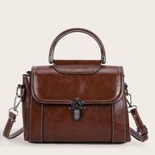 Stitch Detail Flap Satchel Bag