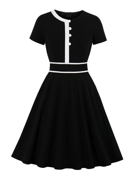 Milanoo Vintage Summer Dress 1950s Short Sleeves Woman Swing Dress