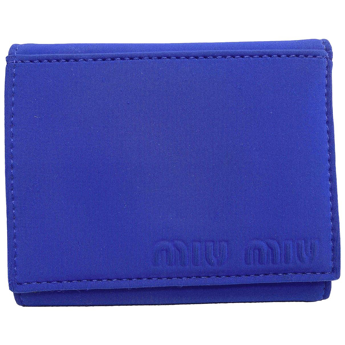 Miu Miu - Portefeuille   pour femme en toile - bleu