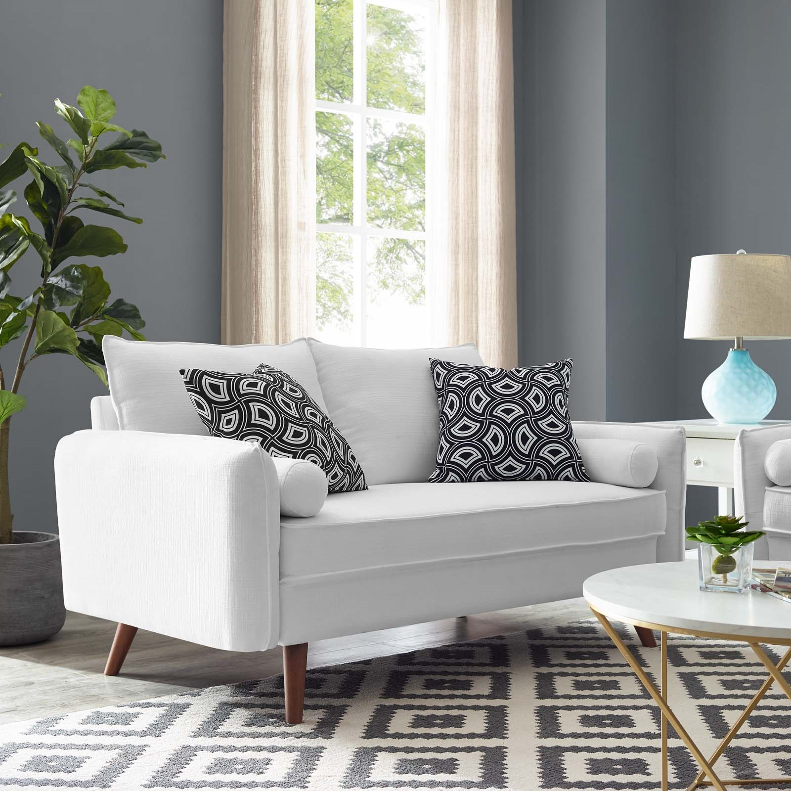 Revive Upholstered Fabric Loveseat in White