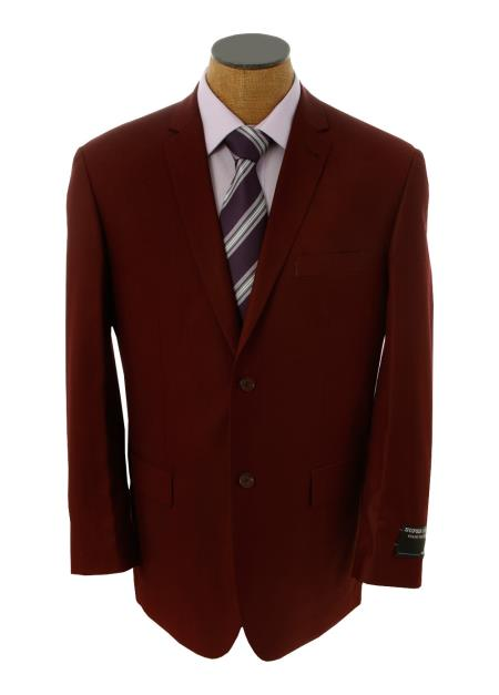 Mens Solid Burgundy Blazer