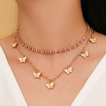 2pcs Butterfly Chain Necklace