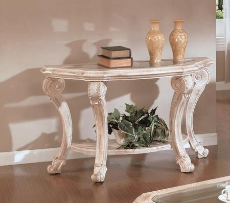 Callie Collection CA2035-ST Sofa Table with Carved Resins and Beveled Glass Insert in Antique White