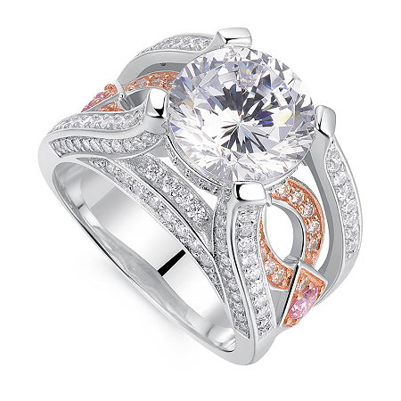Womens 5 1/2 CT. T.W. Multi Color Cubic Zirconia Sterling Silver Round Engagement Ring, One Size , No Color Family