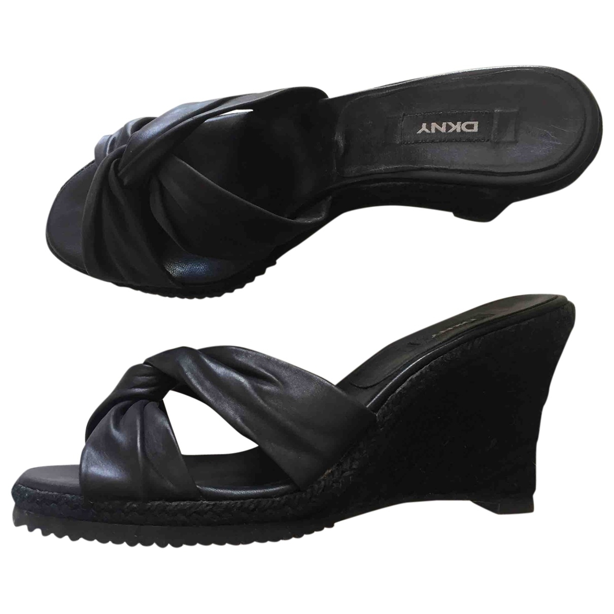 Dkny \N Black Leather Sandals for Women 40.5 EU