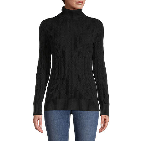 St. John's Bay Cable Womens Turtleneck Long Sleeve Pullover Sweater, X-large , Black