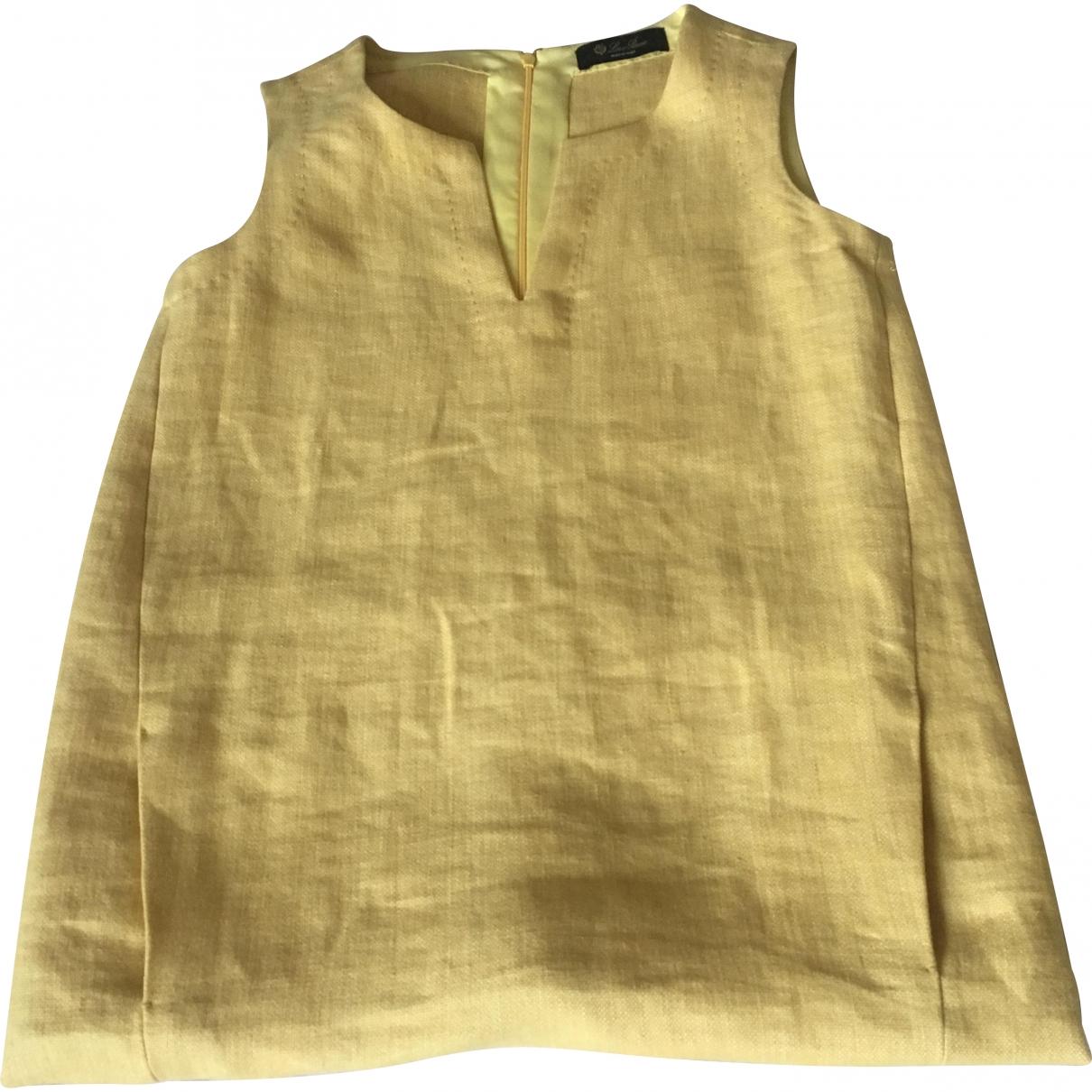 Loro Piana \N Yellow Linen dress for Women 38 IT
