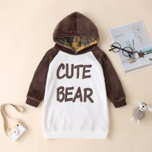 Toddler Girls Colorblock And Letter Graphic Hooded Sweatshirt Dress
