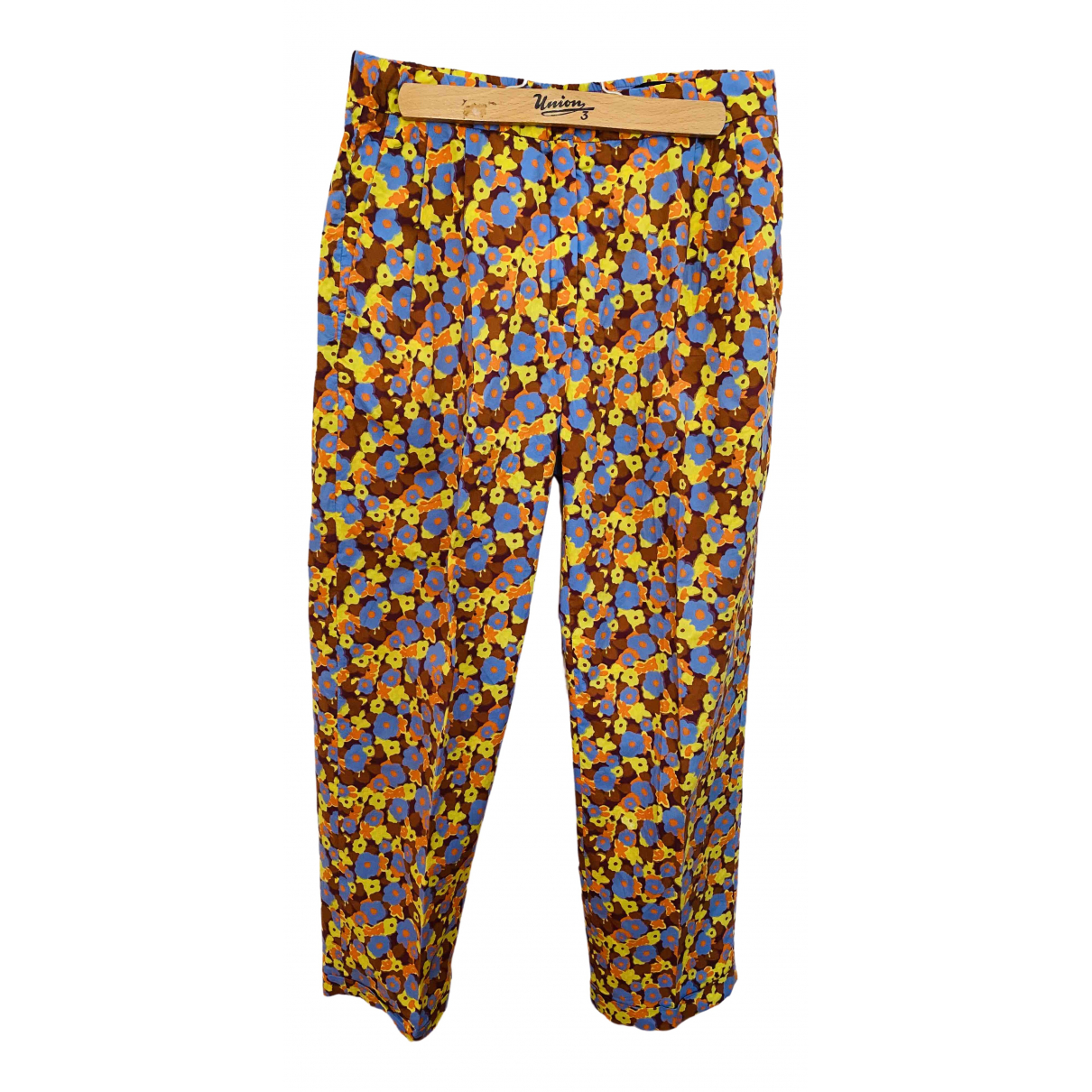 Odeeh \N Yellow Cotton Trousers for Women 38 FR