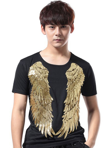Milanoo Jazz Dance Costume Men Sequin Glitter T Shirt Short Sleeve Hip Hop Dancing Wear