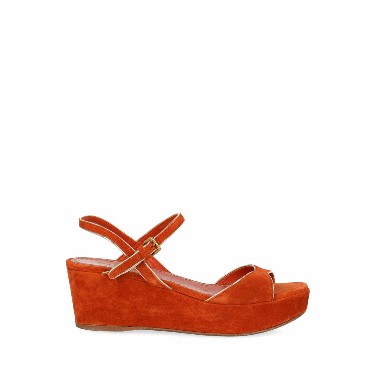 Non Signe / Unsigned \N Sandalen in  Orange Leder