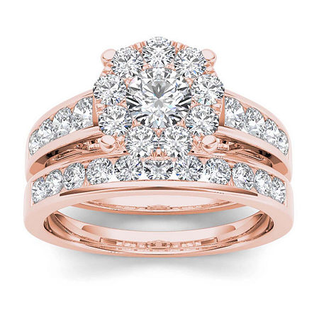 1 1/2 CT. T.W. Diamond 10K Rose Gold Bridal Set, 6 , No Color Family