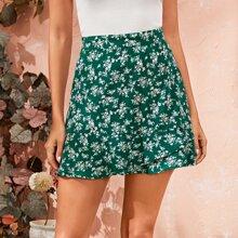 Ruffle Hem Ditsy Floral Skirt