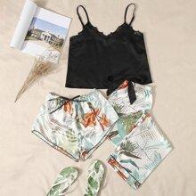3 Packe Satin Cami Schlafanzug Set mit Pflanzen Muster und Spitzen