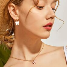 Halskette mit Schmetterling Anhaenger 3 Stuecke und Ohrringe