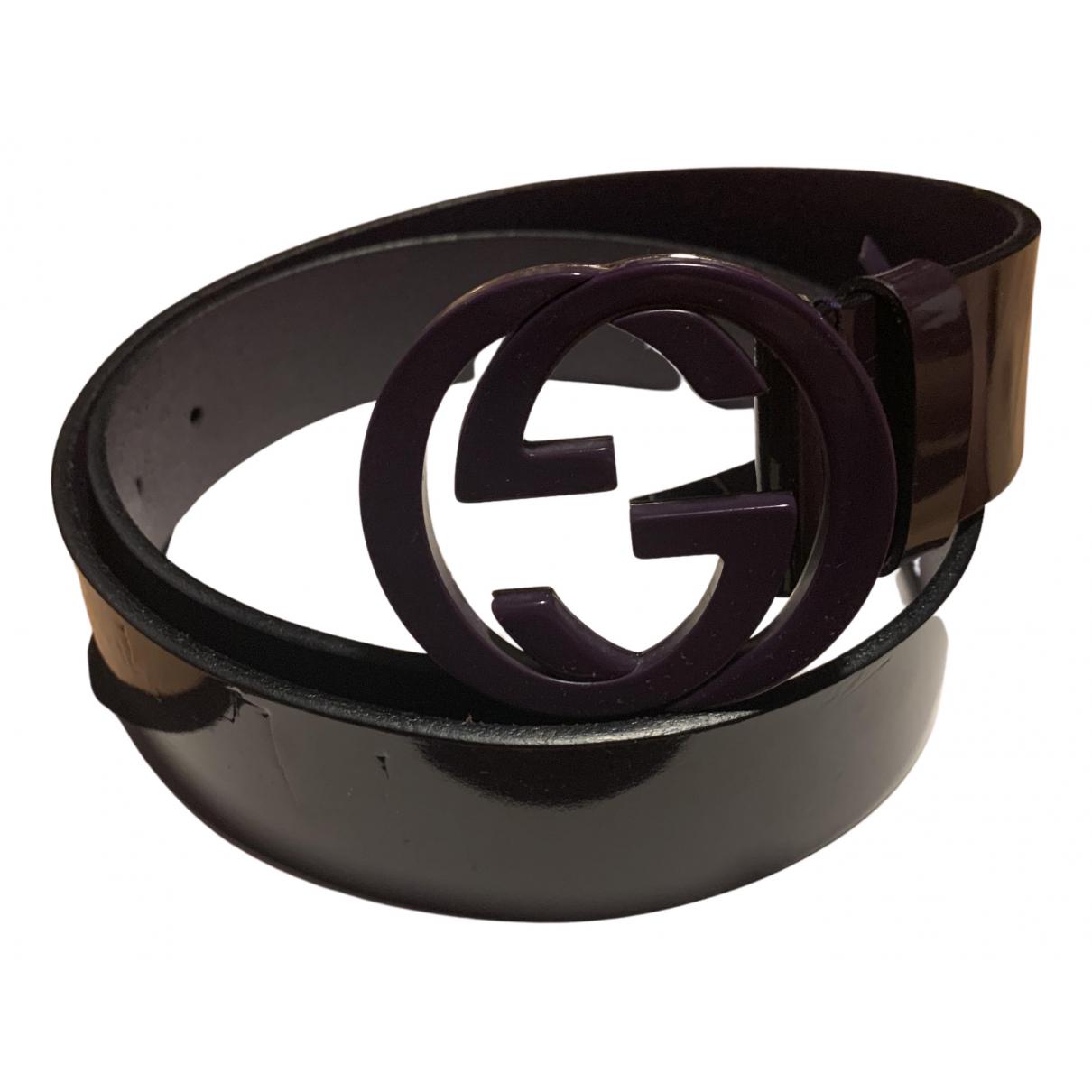 Gucci Interlocking Buckle Purple Leather belt for Women 85 cm