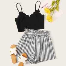 Crop Cami Top mit Bogenkante & Shorts mit Streifen