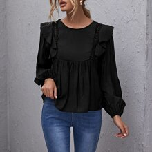 Ruffle Trim Lace Insert Peplum Top