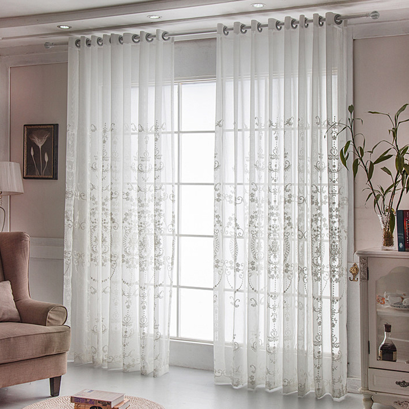 Decorative and Blackout Polyester Embroidered Damask European Style 2 Panels Curtain