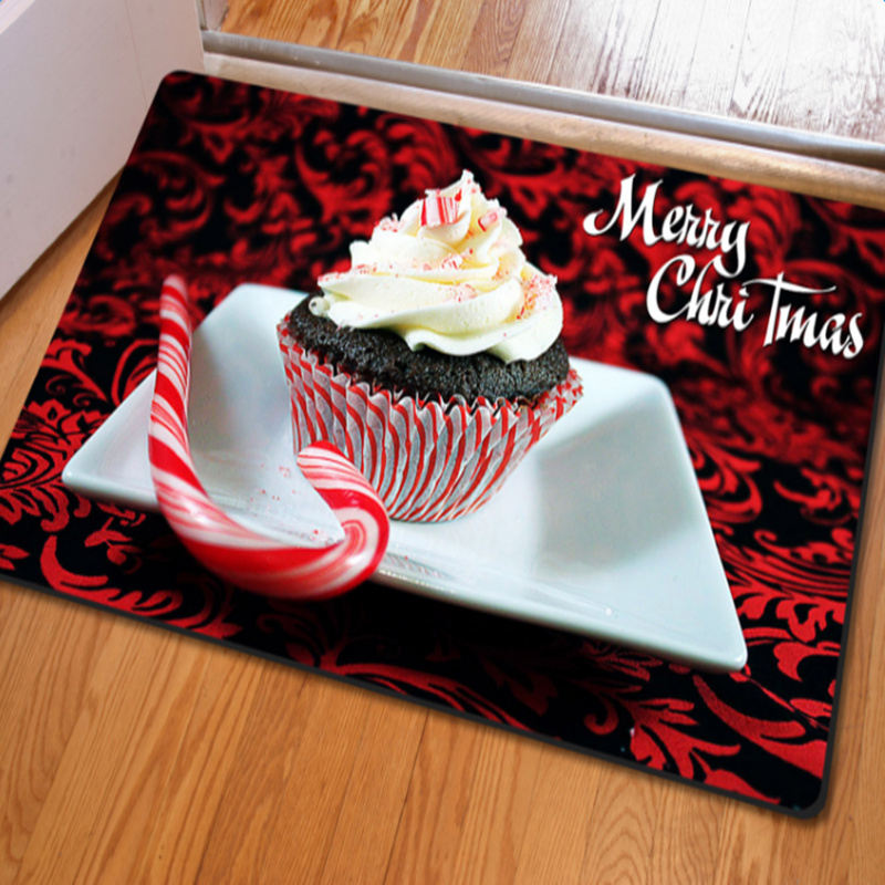Gorgeous Rectangle Merry Christmas Cake and Candy Pattern Non Slip Doormat