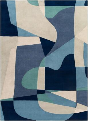 Forum FM-7195 12' x 15' Rectangle Modern Rug in Teal  Navy  Denim  Ivory  Light Gray  Dark