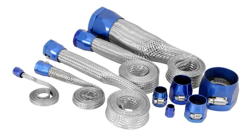 Spectre 7496 MagnaBraid 304SS Braided Sleeving Kit - Blue End Caps