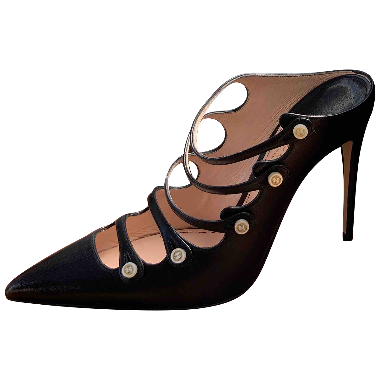 Gucci \N Black Leather Mules & Clogs for Women 37 EU