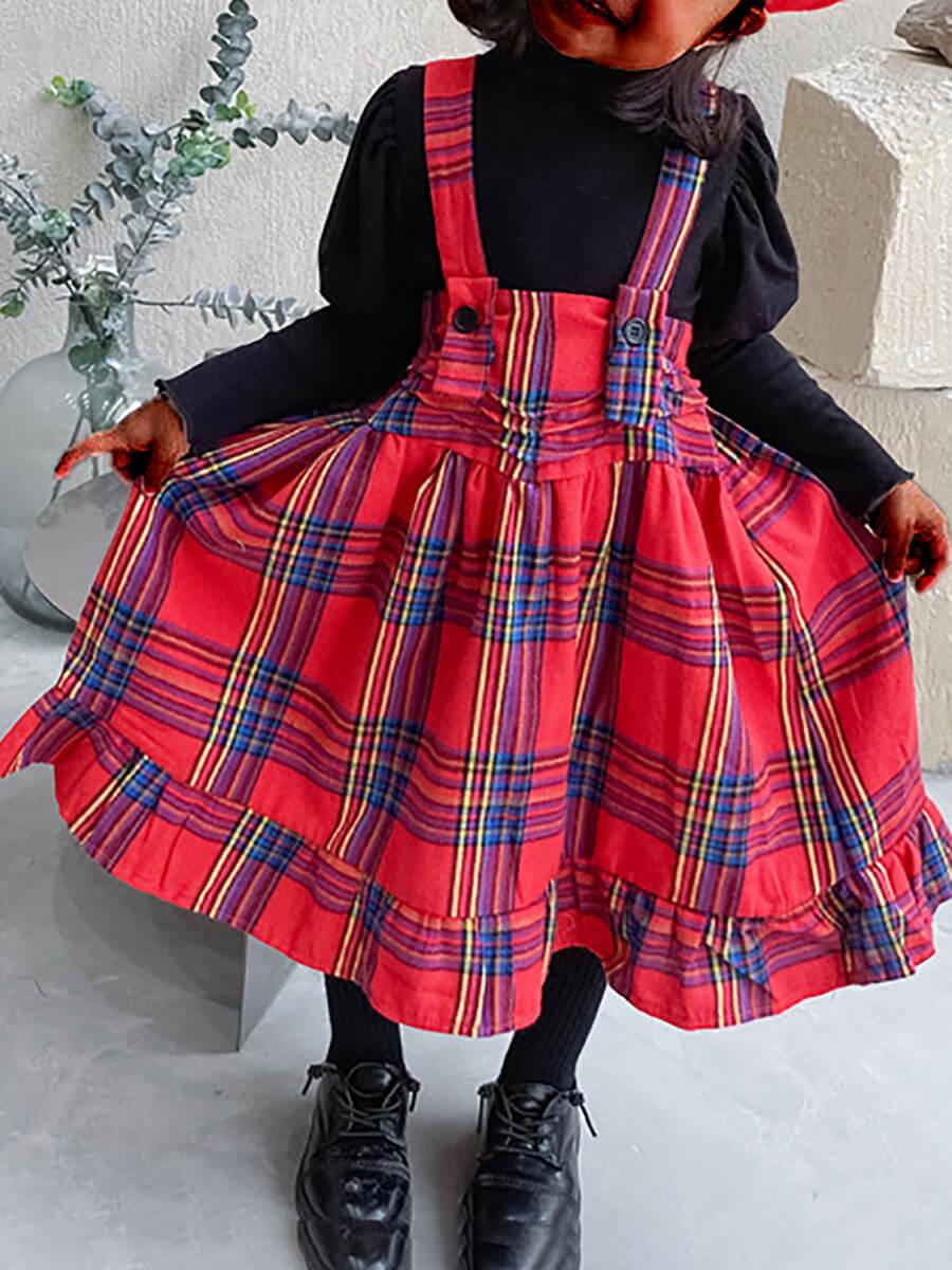LW Lovely Sweet Plaid Print Patchwork Suspender Red Knee Length Girl Dress