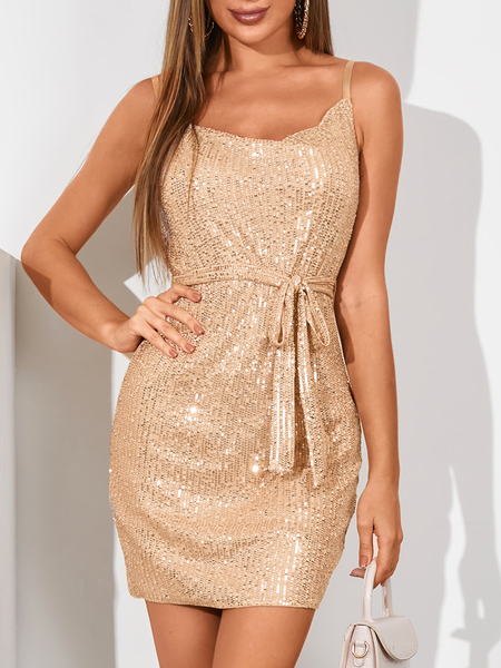 YOINS Champagne Sequins embellished Sleeveless Dress
