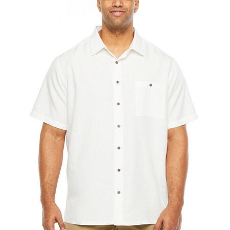 Campia Big and Tall Slub Weave Sportshirt Mens Short Sleeve Button-Down Shirt, 4x-large , White