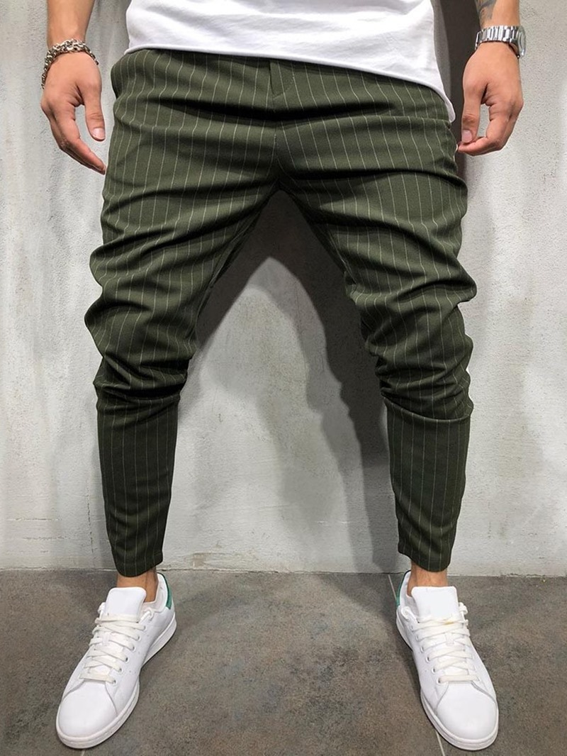 Ericdress Pencil Pants Stripe Print Mid Waist Men's Casual Pants