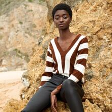 Two Tone Pointelle Knit Sweater