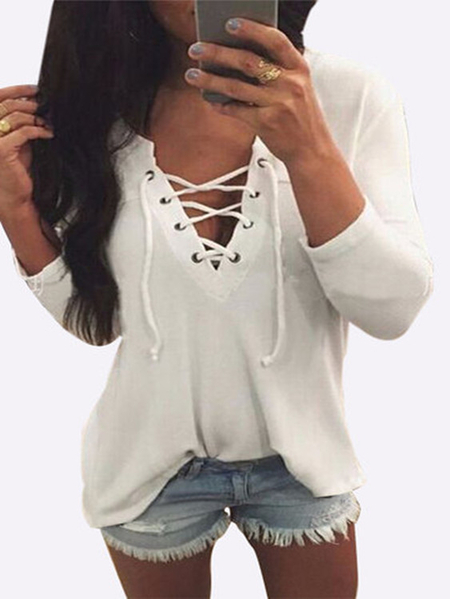 Yoins V Neck Lace Up Front Loose T-shirt in White