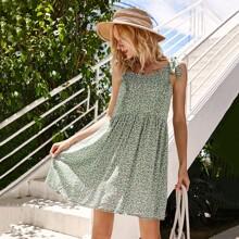 Sommerkleid mit Knoten, Riemen, Raffungsaum und Bluemchen Muster