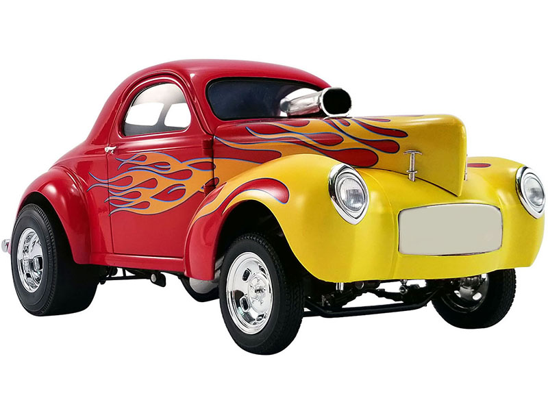 1941 Willys Gasser Red and Yellow with Flames Limited Edition to 408 pieces Worldwide 1/18 Diecast Model Car by ACME