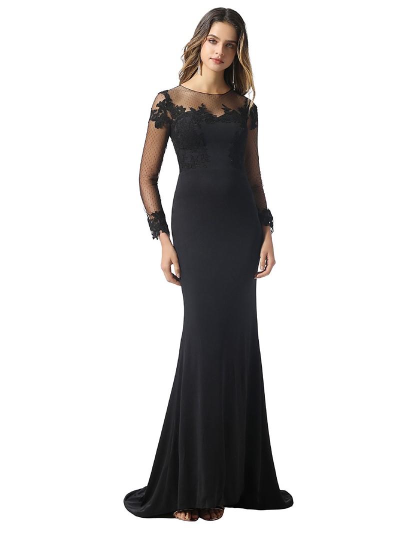 Ericdress Long Sleeves Floor-Length Black Evening Dress 2020