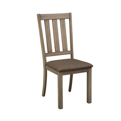 Sun Valley Collection 439-C1501S Slat Back Side Chair with Upholstered in Brown Tweed and Tapered Legs in Sandstone