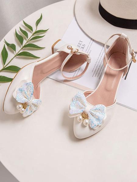 Milanoo Sweet Lolita Footwear Bows Round Toe PU Leather Lolita Pump Shoes