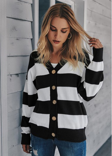Button Up Long Sleeve Striped Cardigan - M