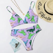 Cartoon Dinosaur High Waisted Bikini Swimsuit