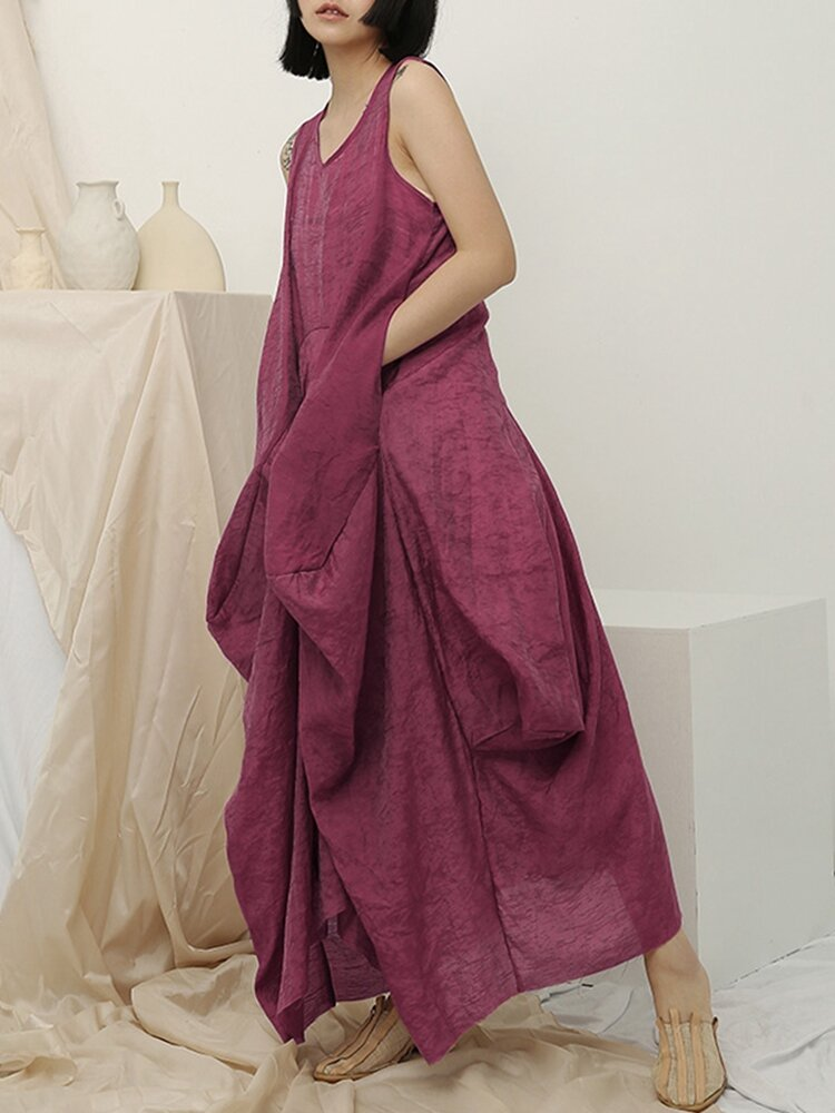 Irregular Sleeveless Solid Color Vintage Dress For Women