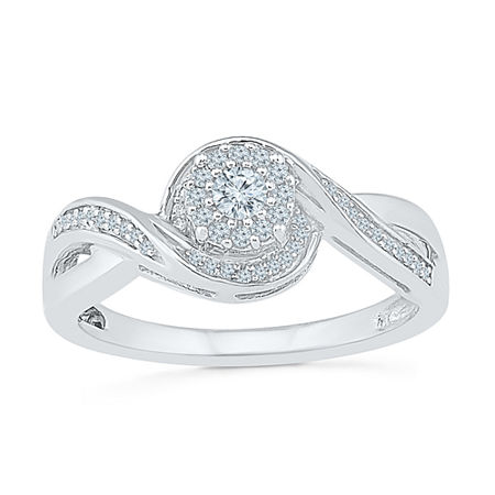 Promise My Love Womens 1/5 CT. T.W. Genuine White Diamond Sterling Silver Round Promise Ring, 4 , No Color Family