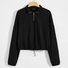 Pullover mit Kordelzug und halbem Reissverschluss