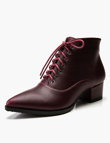 Milanoo Patent PU Leather Lace Up Pointed Toe Booties