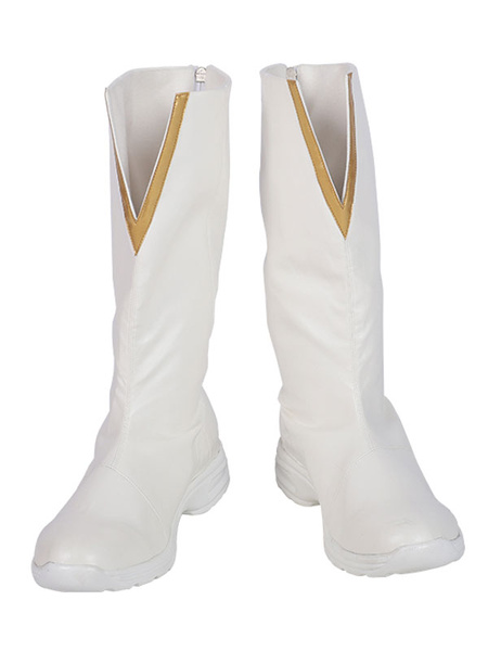 Milanoo Flash Cosplay Footwear The Flash White Cosplay PU Leather Boots
