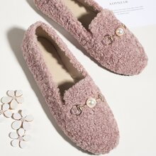 Faux Pearl Decor Fluffy Loafers