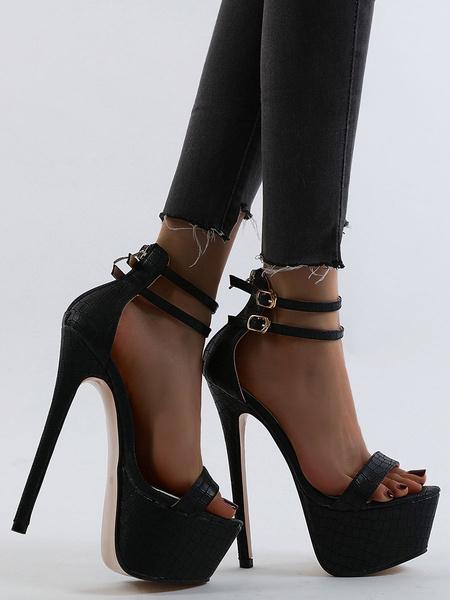 """Milanoo Sandalias sexy para mujer Plataforma Tobillo Correa 6.7 """"Tacon de aguja Zapatos con estampado de cocodrilo para Rave Club"""