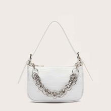 Croc Embossed Layered Chain Baguette Bag