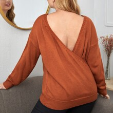 Plus Wrap Back Drop Shoulder Solid Sweater