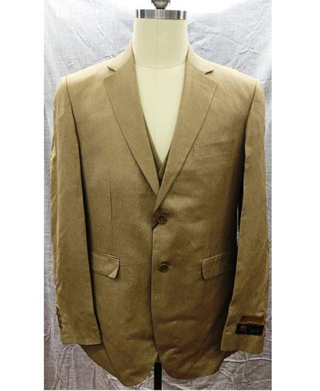 Men's 2 Button Single Breasted Linen Vest Suit Tan